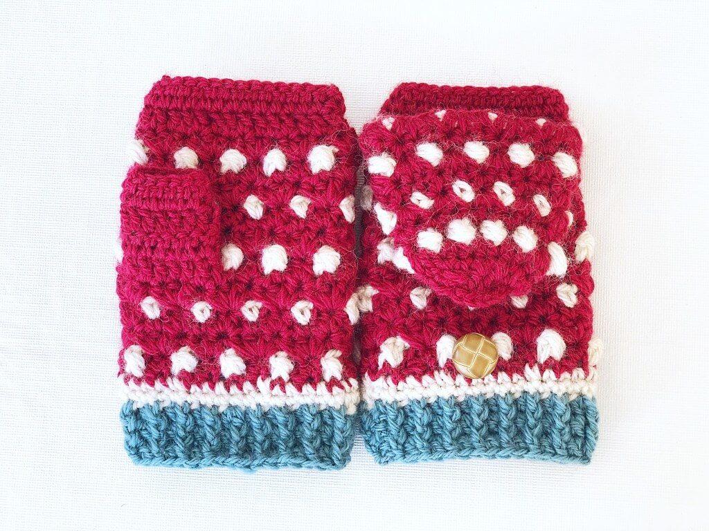 かぎ編みで手袋!編み図がわかりやすいから楽しい!一目惚れした野いちごミトン!